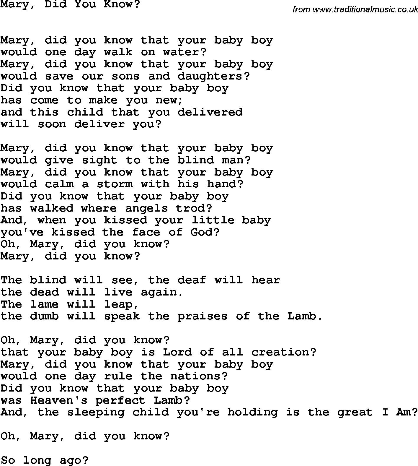Mary+Did+You+Know+Lyrics | Country, Southern And Bluegrass Gospel - Free Printable Gospel Music Lyrics