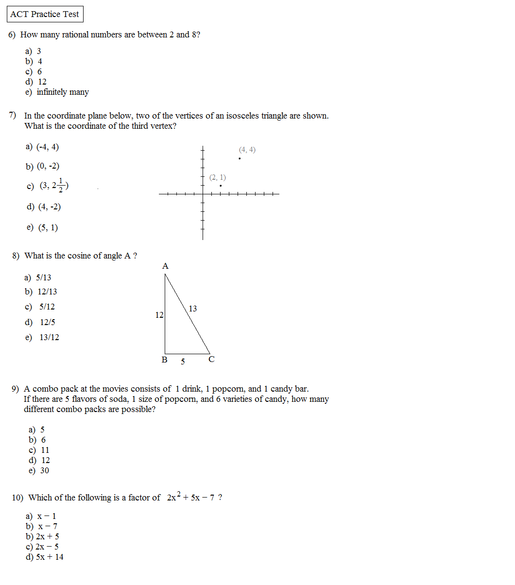 Math Plane - Act Practice Test 1 - Free Printable Act Practice Worksheets