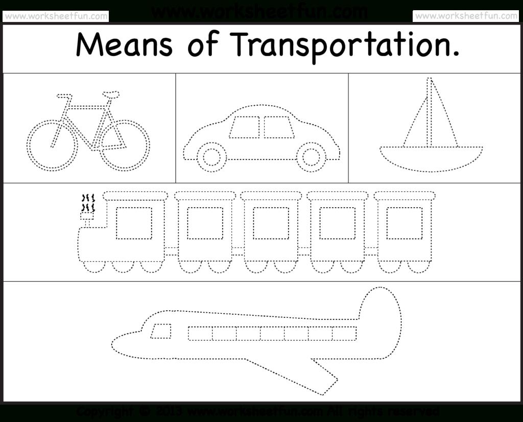 Means Of Transportation – Tracing Worksheet / Free Printable | Kgi - Free Printable Transportation Worksheets For Kids
