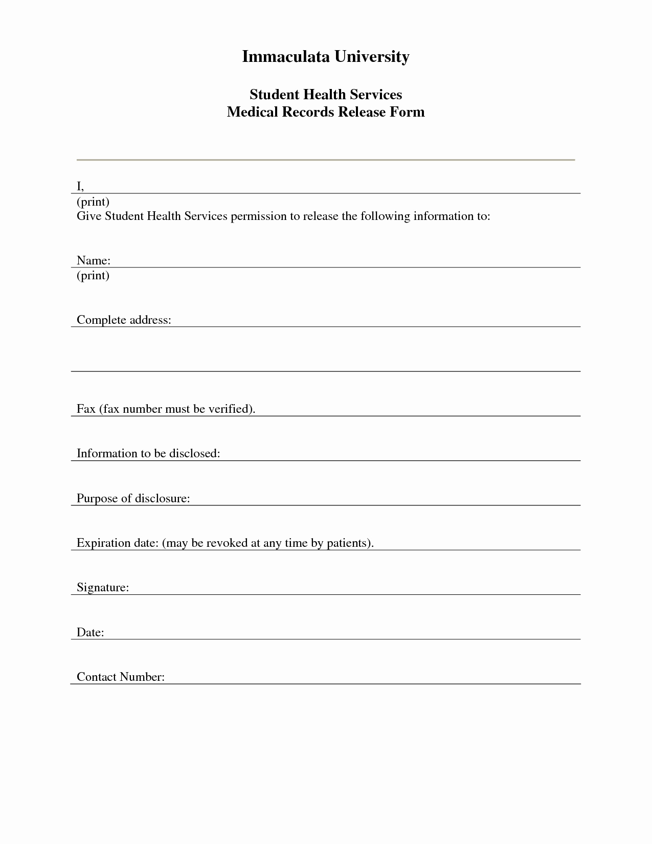 Medical Forms Templates And 7 Best Of Free Printable Medical Release - Free Printable Medical Release Form
