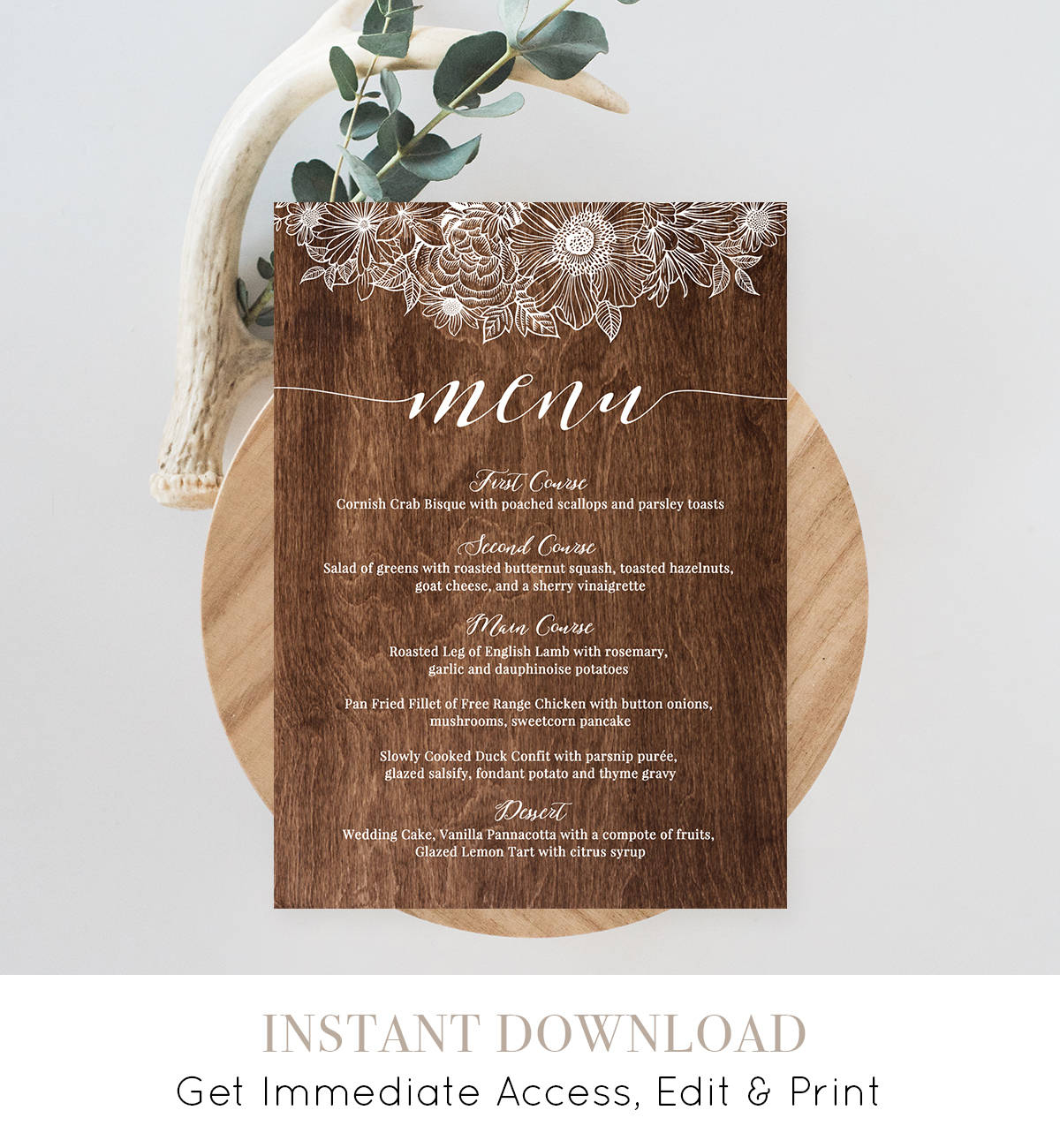 Menu Card Template, Printable Wedding Menu, Fully Editable, Instant - Free Printable Wedding Menu Card Templates