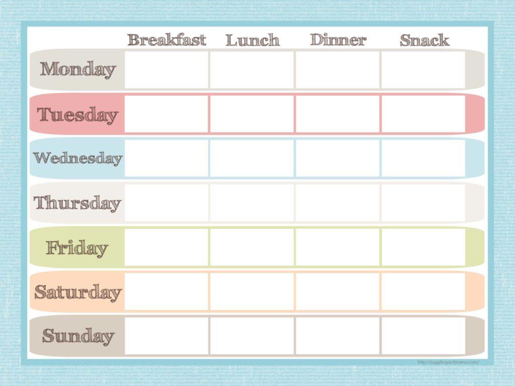 Menu Planner And Grocery List Printable Set - Juggling Act Mama - Free Printable Grocery List And Meal Planner