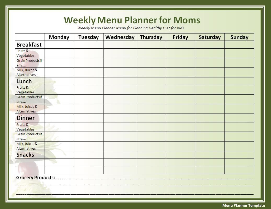Menu Planner Template | Nutrition In 2019 | Menu Planning Template - Free Printable Menu Templates Word