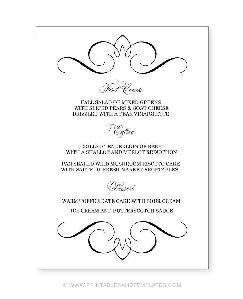 Menu Template Free Printable Printable Wedding Menu Templates Nice - Free Printable Menu Templates Word