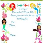 Mermaid Bithday Party Invitations, Free Printable   Free Printable Water Park Birthday Invitations