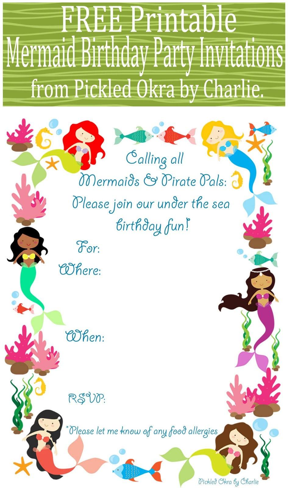 Mermaid Bithday Party Invitations, Free Printable - Free Printable Water Park Birthday Invitations