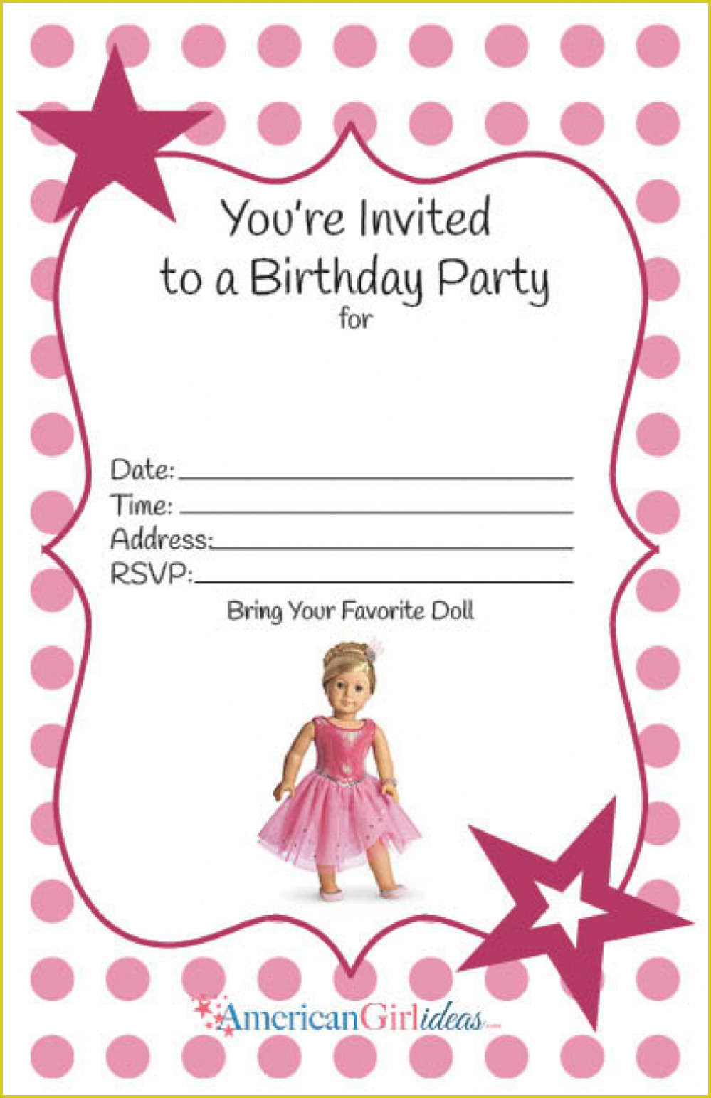Mesmerizing American Girl Birthday Invitations Designs #3521 - American Girl Party Invitations Free Printable
