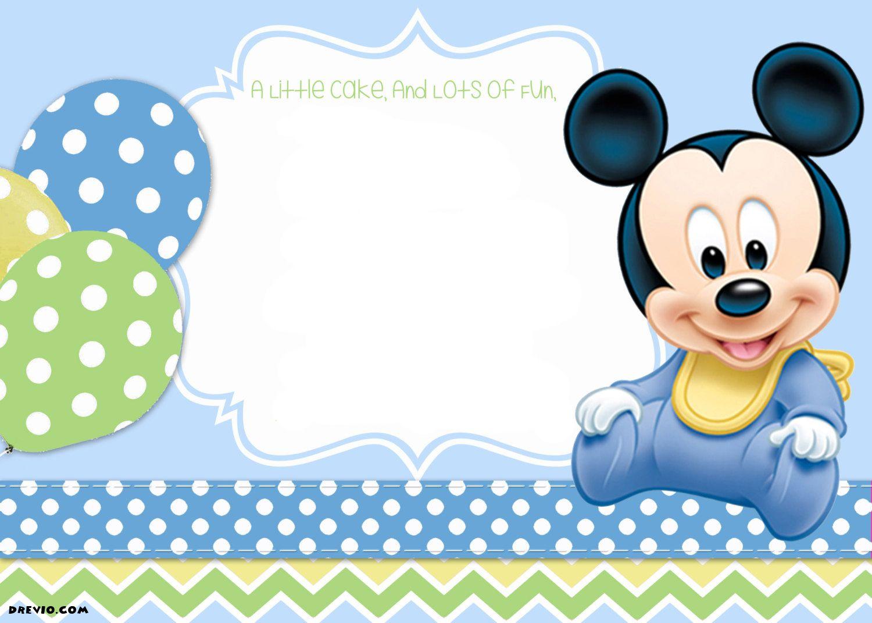 Mickey Mouse 1St Birthday | Tiago's Birthday | Mickey Mouse Baby - Free Printable Baby Mickey Mouse Birthday Invitations