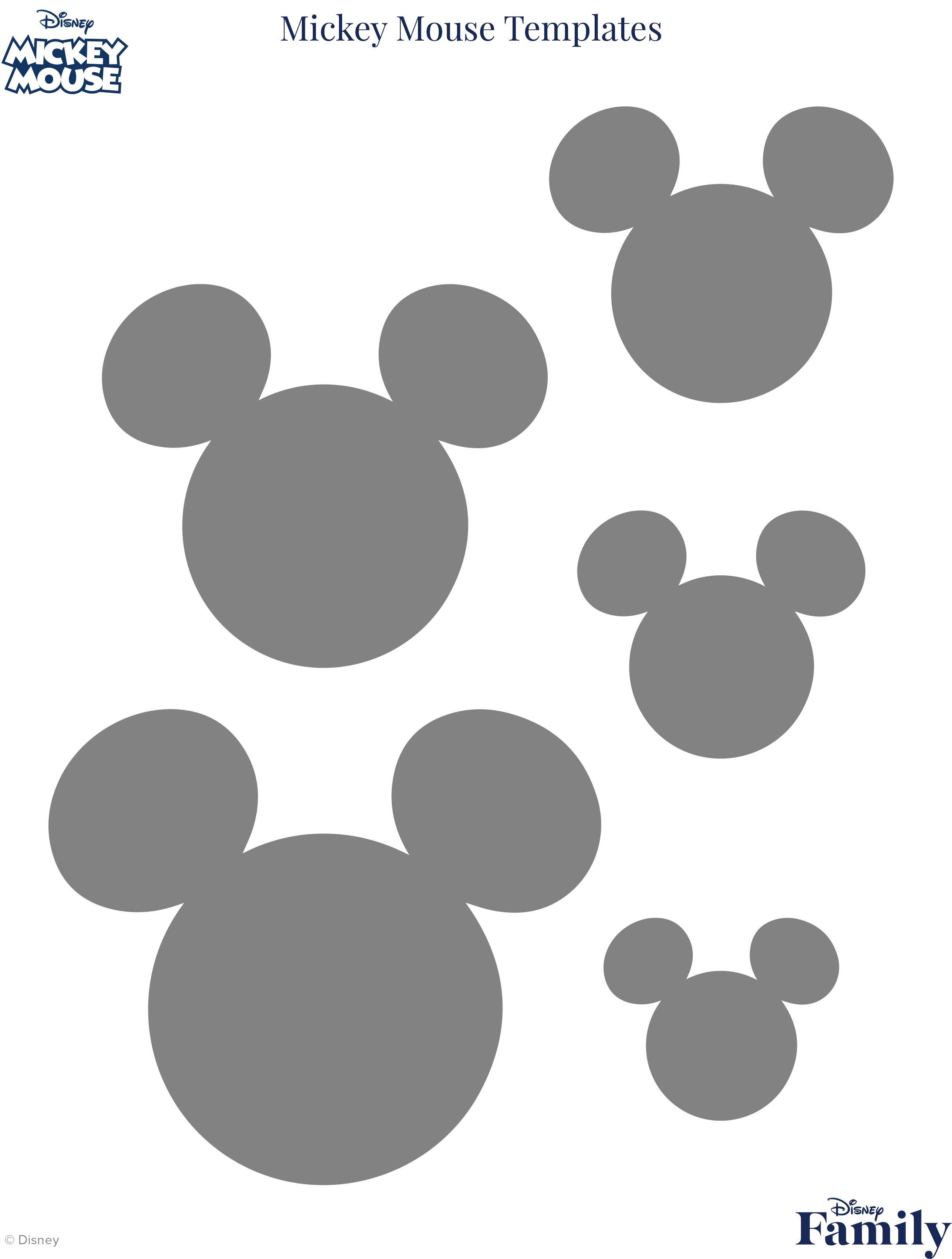 Mickey Mouse Template | Disney Family - Free Printable Mickey Mouse Head