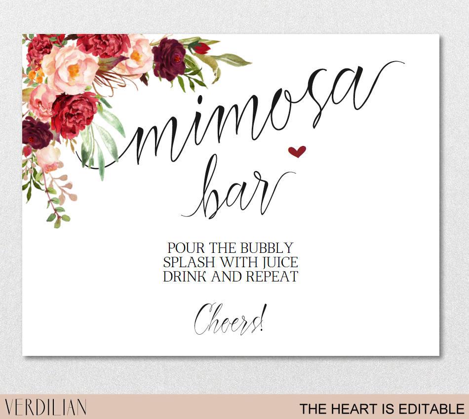 Mimosa Bar Sign Brunch And Bubbly Bar Signage Champagne | Etsy - Free Printable Mimosa Bar Sign