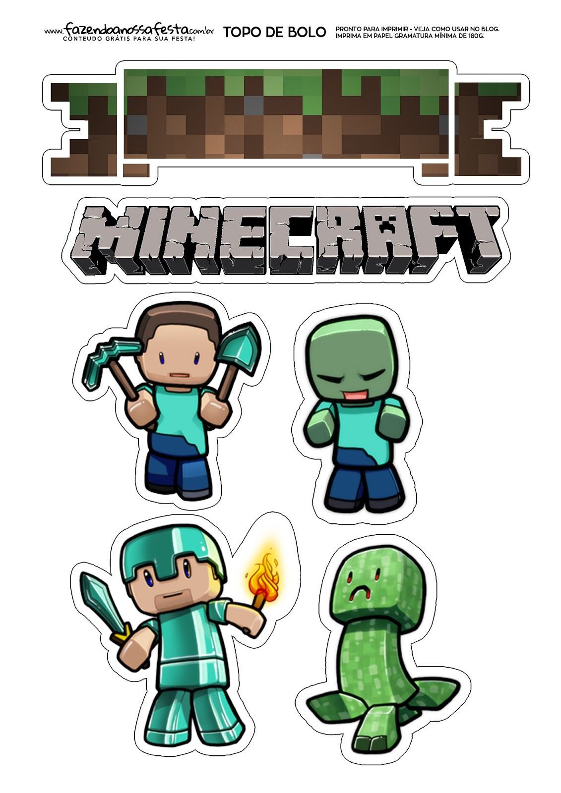 Minecraft: Free Printable Cake Toppers. - Oh My Fiesta! For Geeks - Free Printable Minecraft Cupcake Toppers And Wrappers