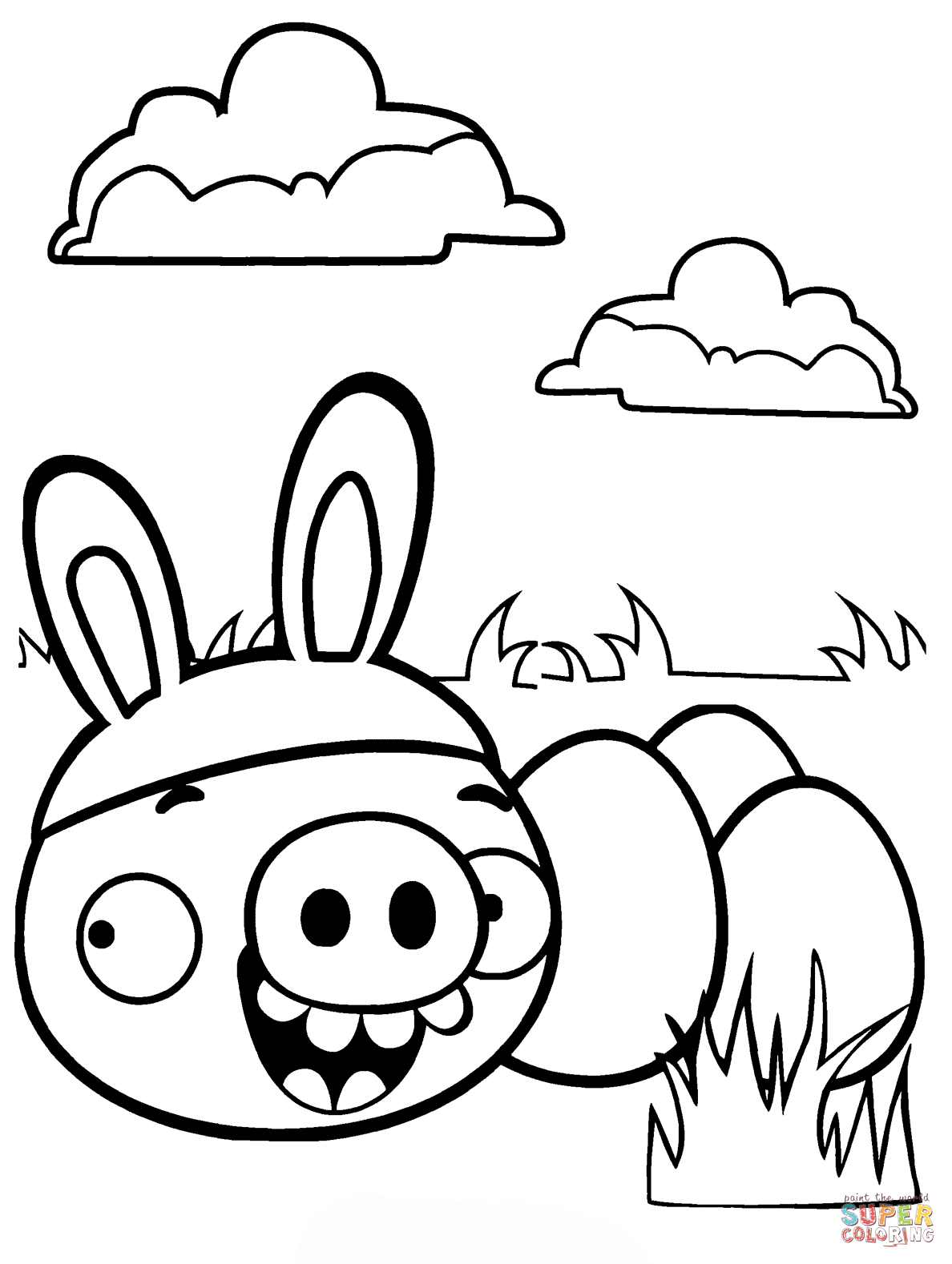 Minion Pig Stealing Easter Eggs Coloring Page | Free Printable - Free Printable Easter Drawings