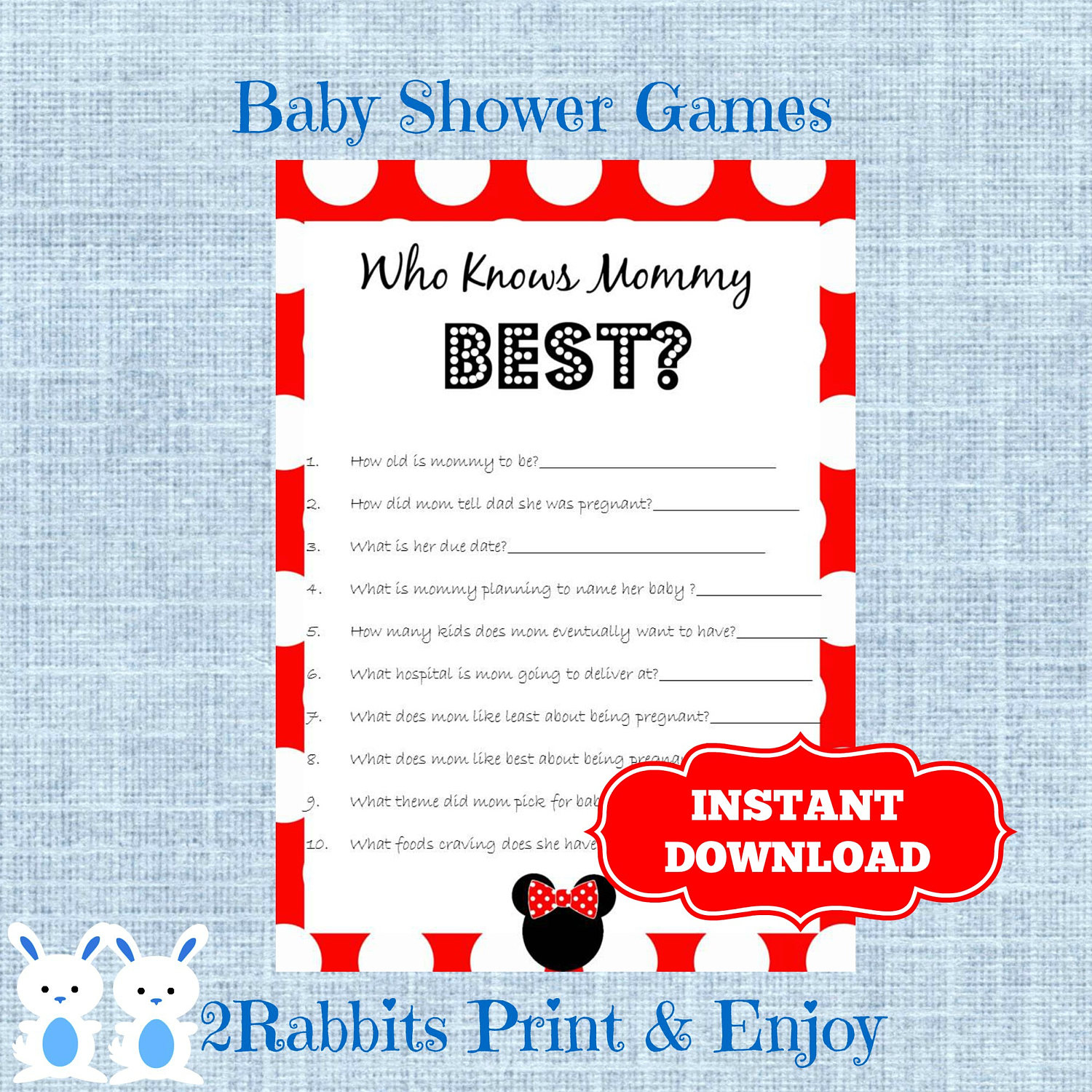 Minnie Mouse Baby Shower Game Who Knows Mommy Best Disney | Etsy - Free Printable Mickey Mouse Baby Shower Games