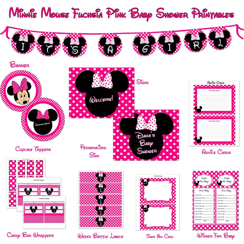 Minnie Mouse Baby Shower Printables | Baby Shower In 2019 - Free Printable Mickey Mouse Baby Shower Games