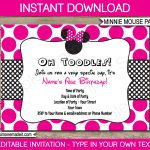 Minnie Mouse Party Invitations Template | Birthday Party   Free Printable Minnie Mouse Invitations