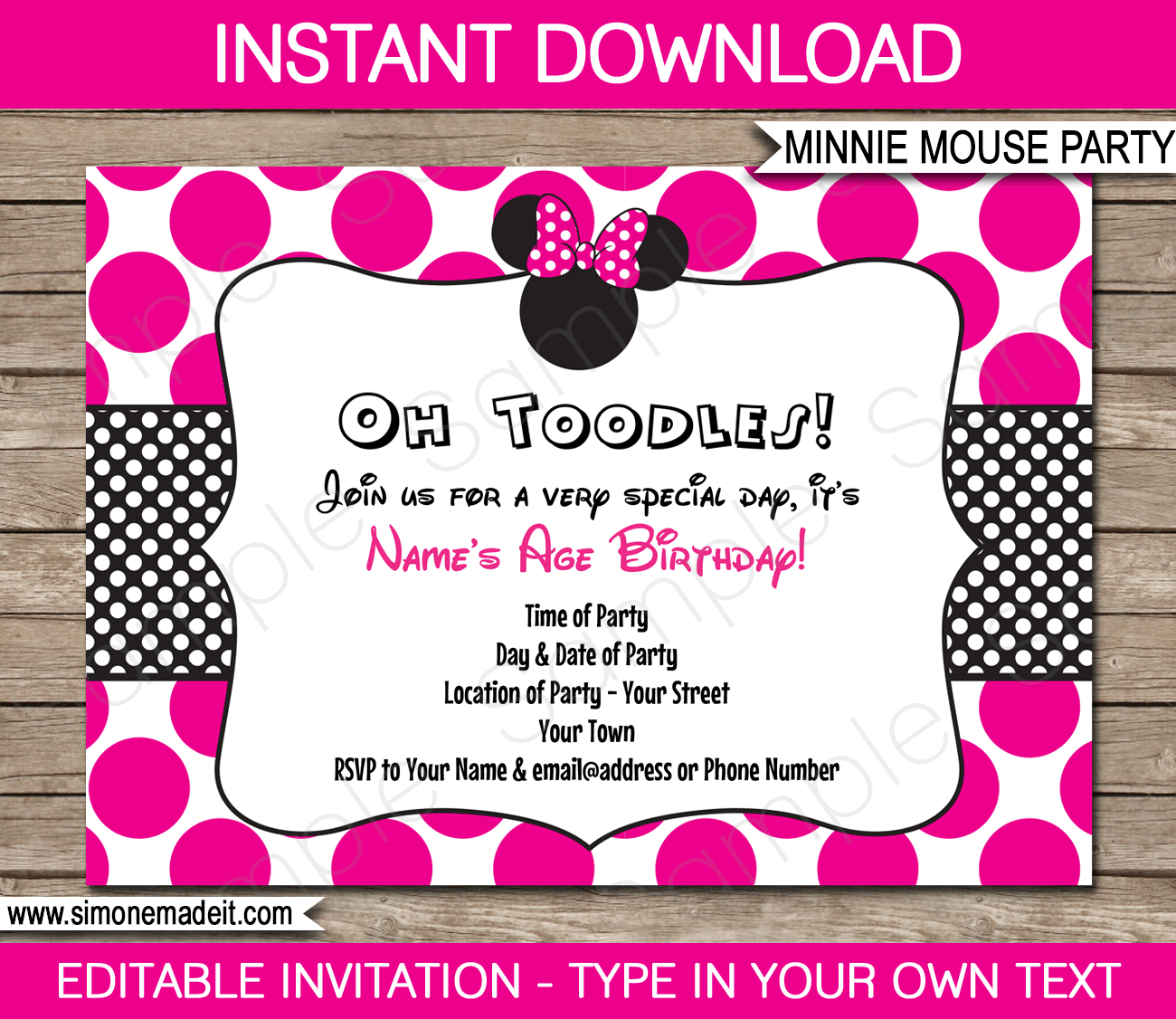 Minnie Mouse Party Invitations Template   Birthday Party - Free Printable Minnie Mouse Party Invitations