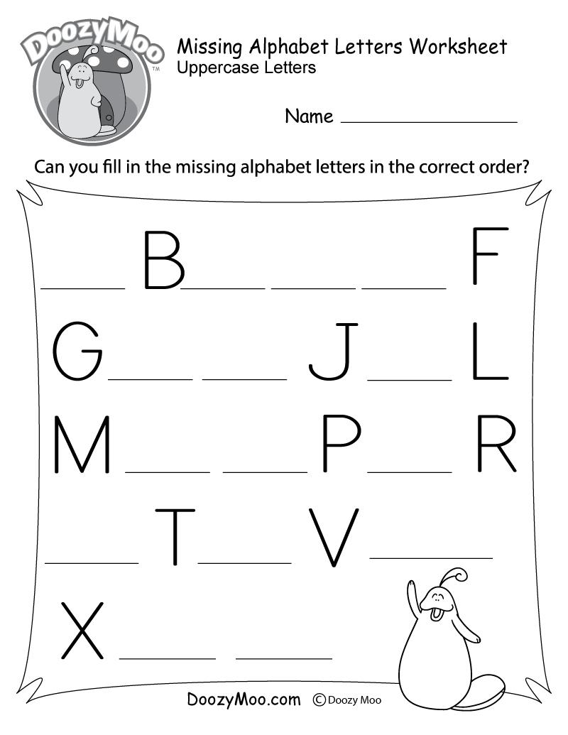 Missing Alphabet Letters Worksheet (Free Printable) - Doozy Moo - Free Printable Alphabet Worksheets
