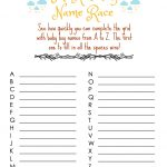 Modern Day Chaos: Free Printable   Baby Shower Game (Boy)   Baby Name Race Free Printable