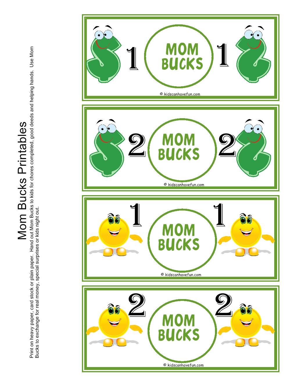 Mom Bucks For Kids. Kids Earn Mom Bucks From Doing Chores.   Misc - Free Printable Chore Bucks