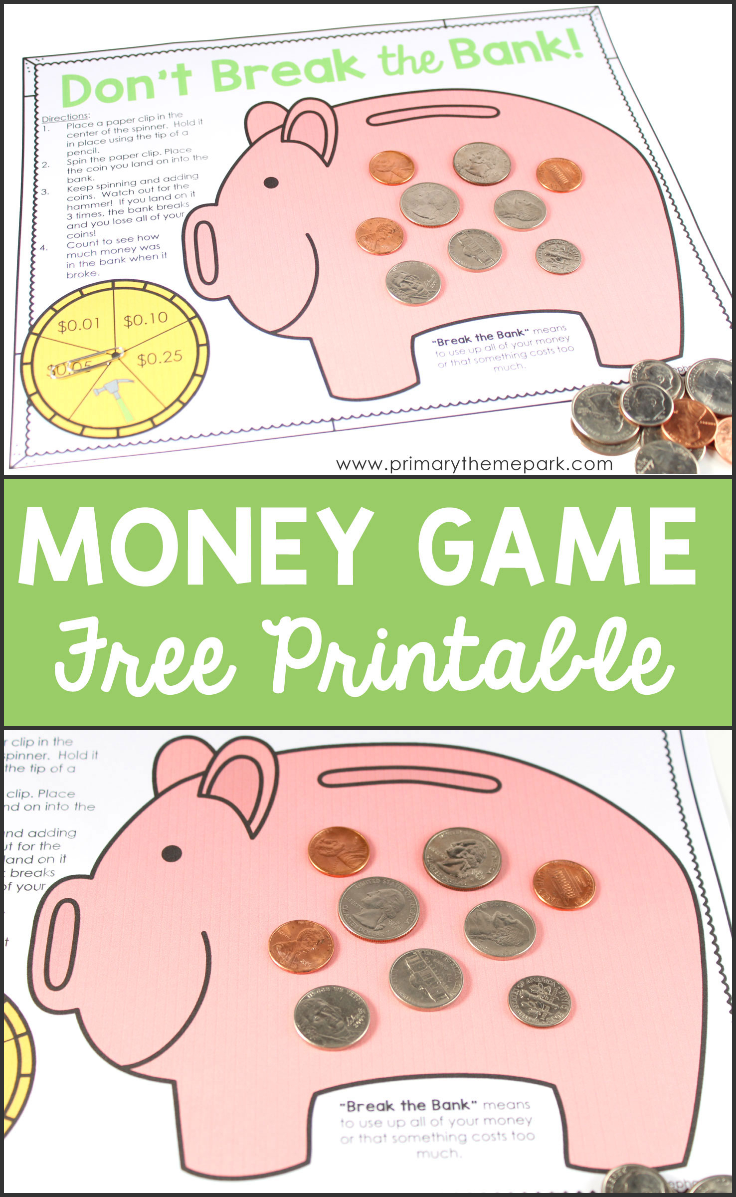 Money Activities For Second Grade - Primary Theme Park - Free Printable Money