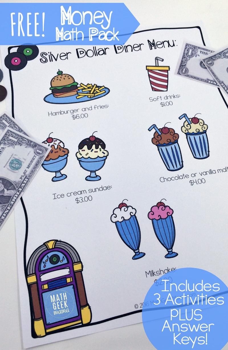 Money Math Practice Worksheets (Diner Theme) - Free Printable Menu Math Worksheets