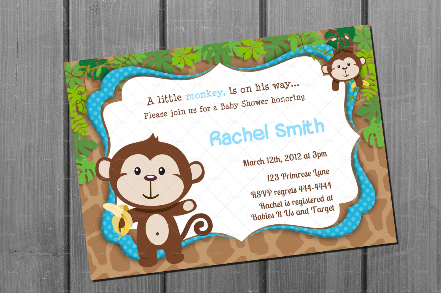Monkey Blue Boy Baby Shower Invitation Free Thank You Card Printable - Free Printable Jungle Safari Baby Shower Invitations