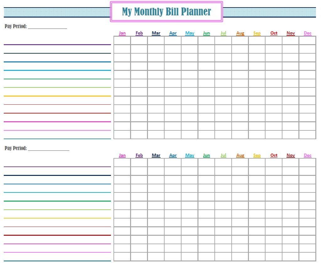 Monthly Bill Log Template Free Printable Monthly Bill Tracker - Free Printable Bill Planner