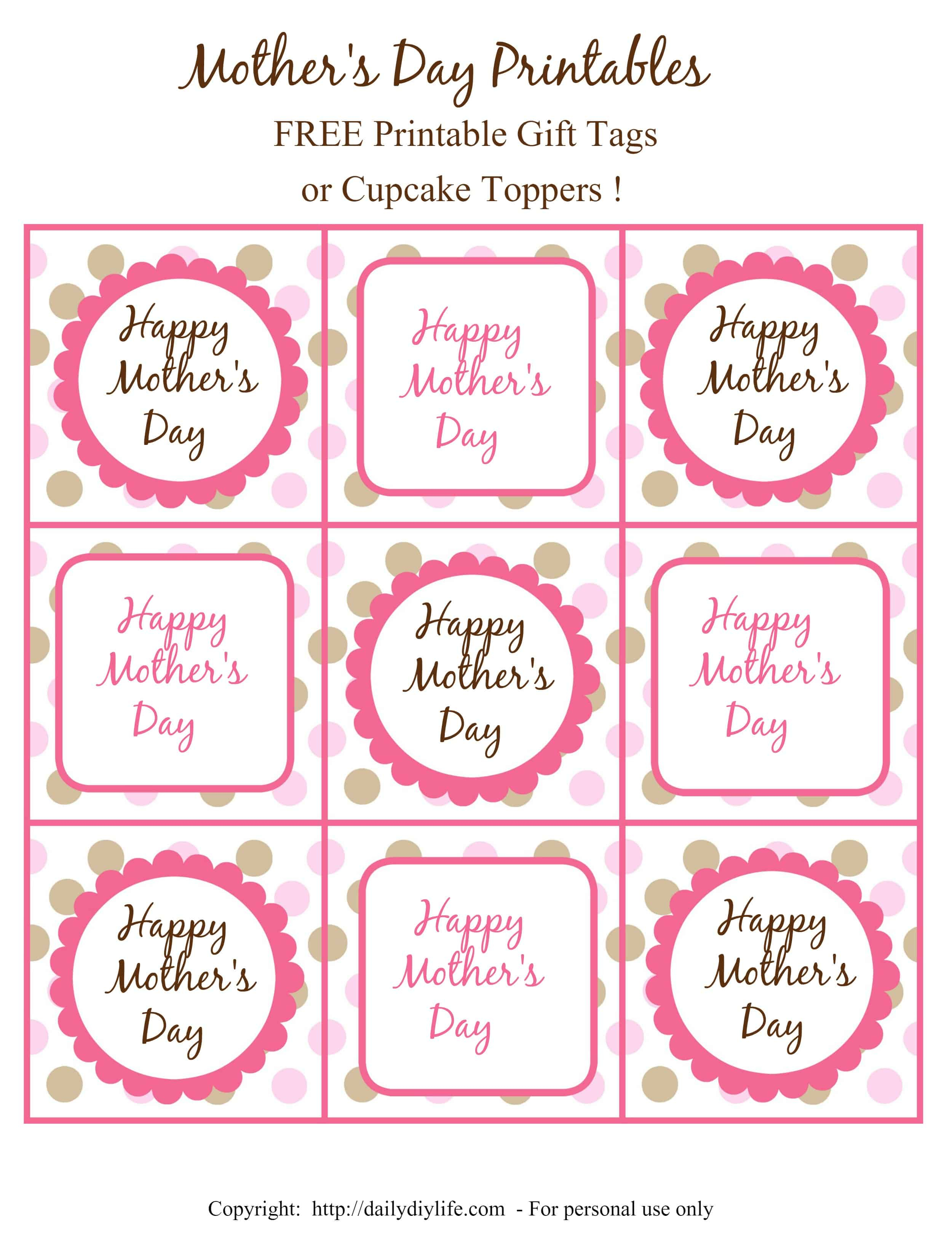 Mother's Day Free Printable Gift Tags Or Cupcake Toppers - Free Printable Sweet 16 Labels