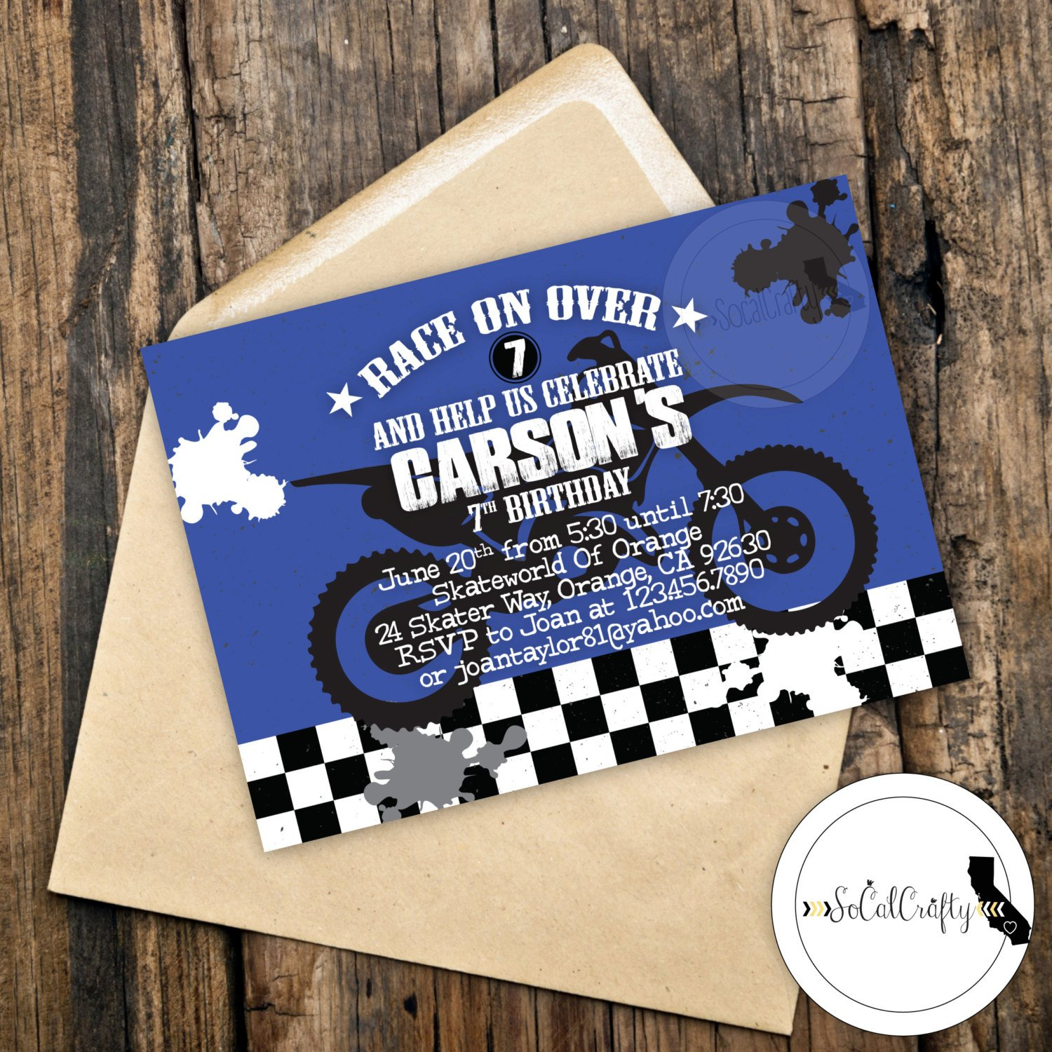 Motocross Birthday Party Invitation Super Cross Dirt Bike | Etsy - Motorcycle Invitations Free Printable