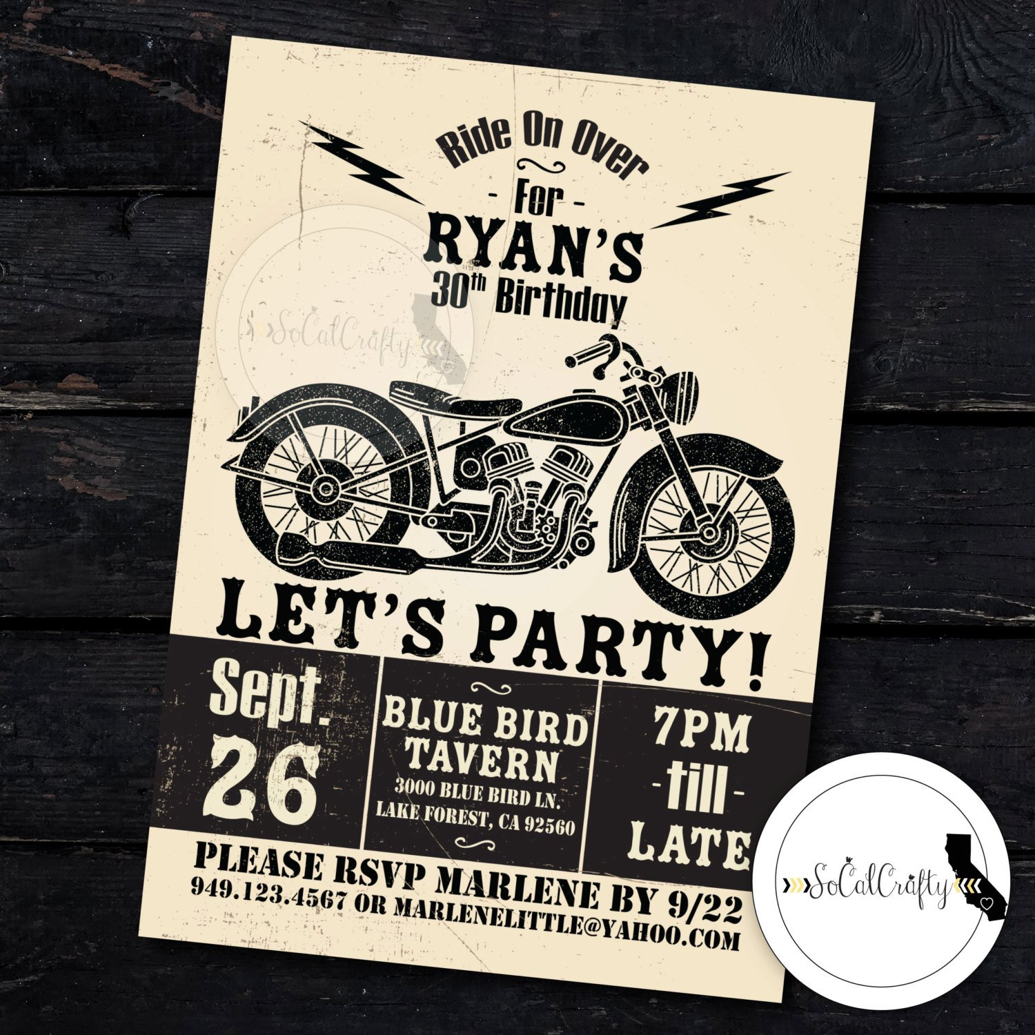 Motorcycle Birthday Party Invitation Poster Vintage | Etsy - Motorcycle Invitations Free Printable