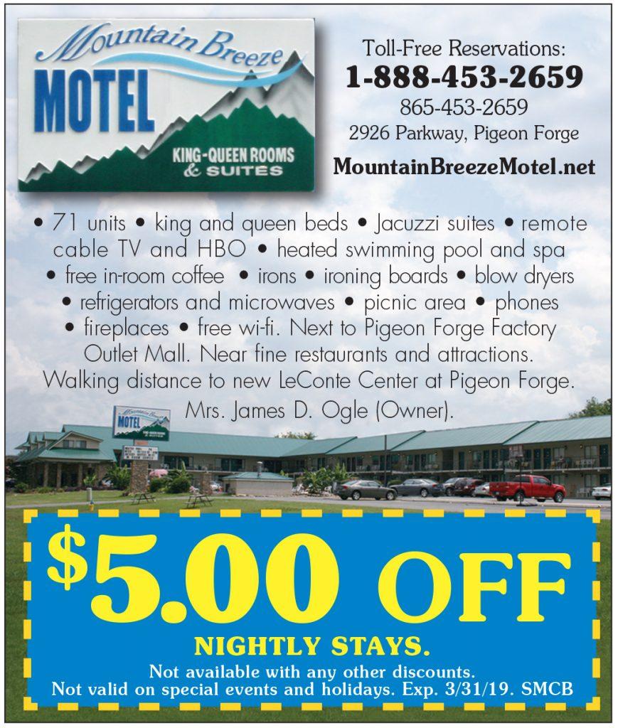 Mountain Breeze Motel Coupon - Free Printable Dollywood Coupons