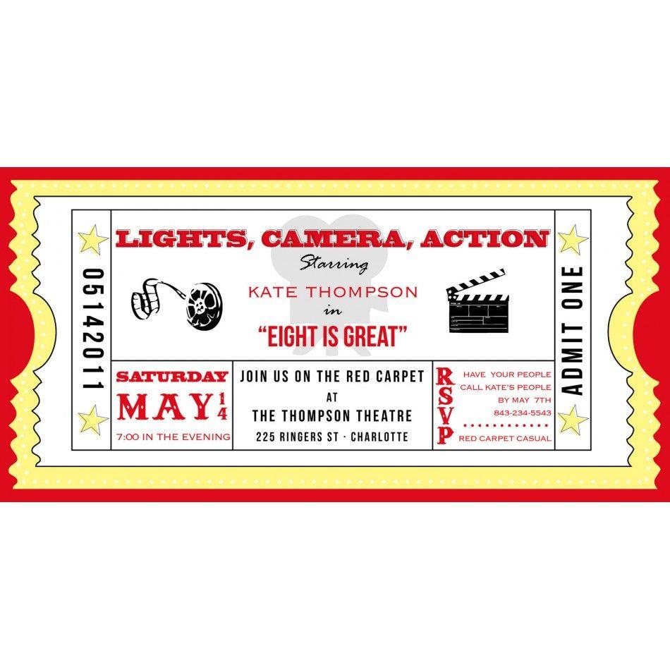 Movie Ticket Cinema Drive-In Birthday Party Printable Invitation - Free Printable Movie Themed Invitations