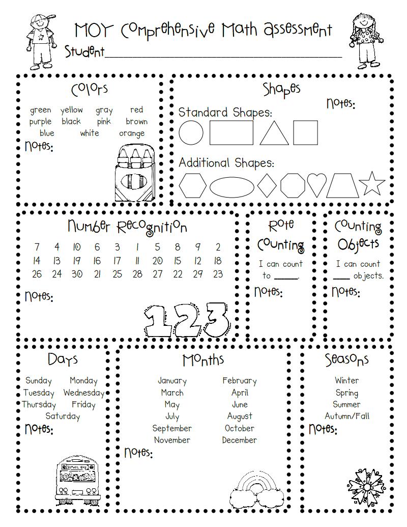 Moy Math Assessment.pdf | Classroom/ Teacher Stuff | Kindergarten - Free Printable Informal Math Assessments