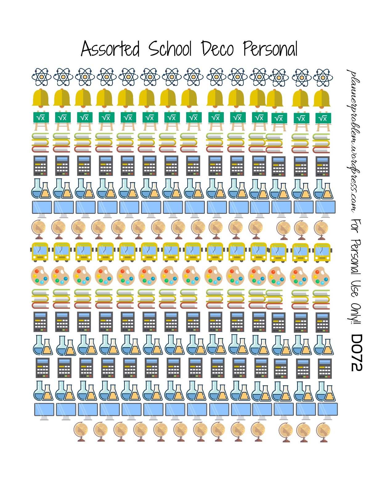 Multicolor School Icons & School Deco! | Free Printable Planner - Free Printable Icons