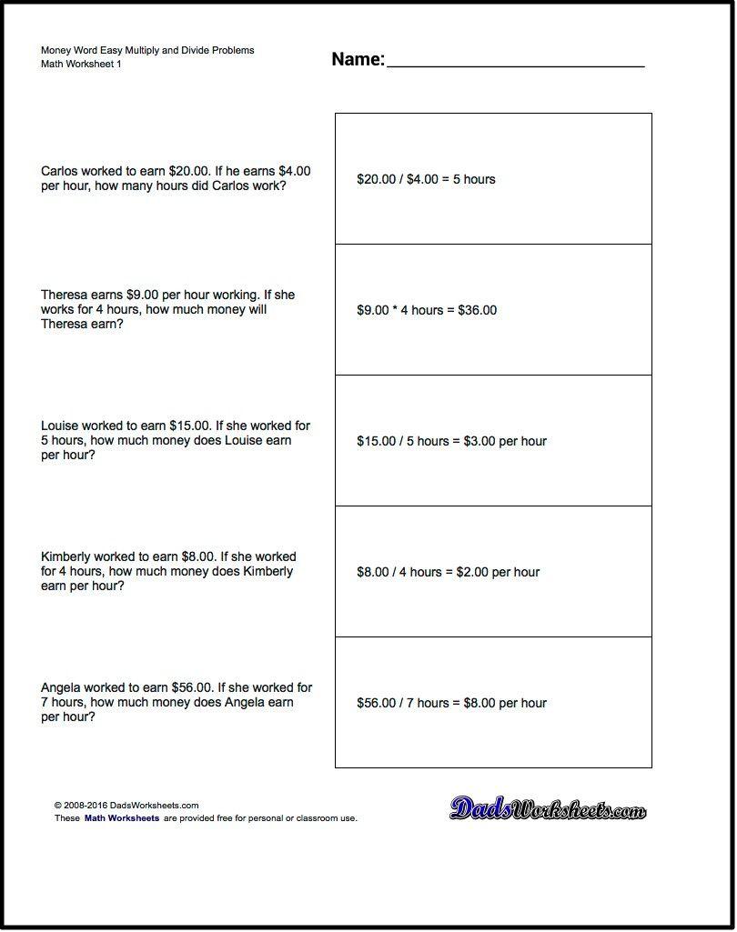 Multiplication Worksheet And Division Worksheet Money Word Problems - Free Printable Division Word Problems Worksheets For Grade 3