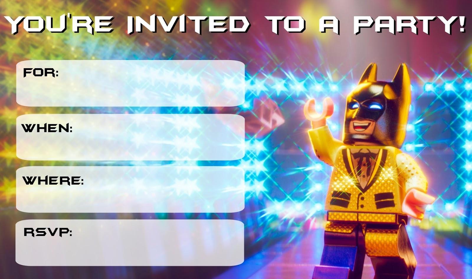 Musings Of An Average Mom Lego Batman Movie Party Invitations With - Lego Batman Party Invitations Free Printable