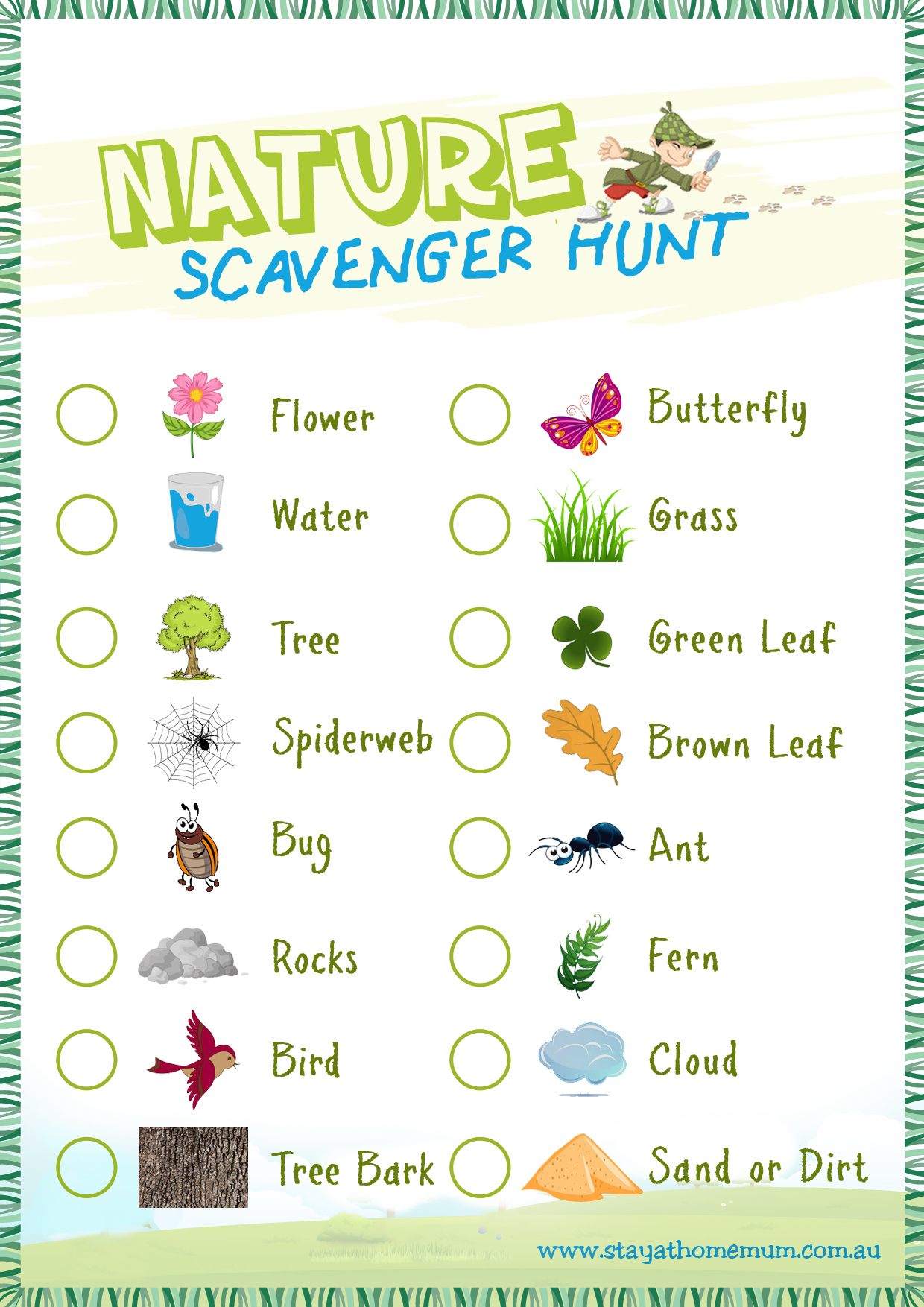 Nature Scavenger Hunt - Free Printable - Stay At Home Mum - Free Printable Scavenger Hunt For Kids