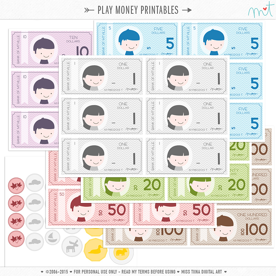New Vector Saving Up + Free Printable Play Money! | Misstiina - Free Printable Play Money