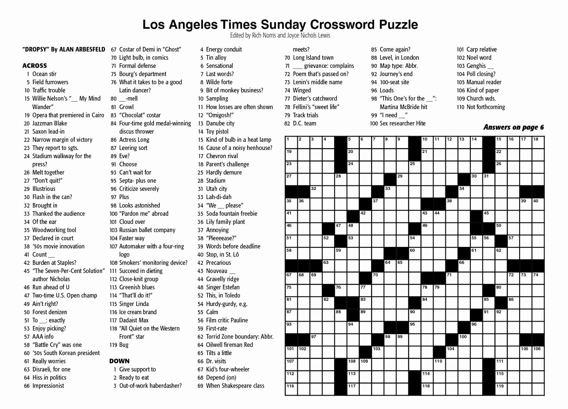 New York Times Sunday Crossword Printable – Rtrs.online - Free La Times Crossword Printable