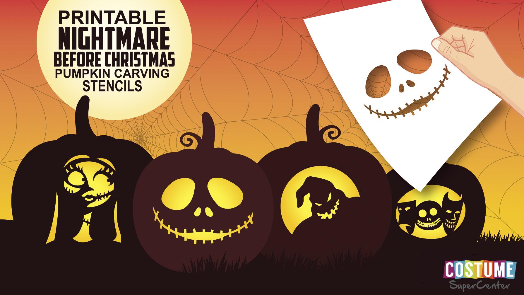 Nightmare Before Christmas Pumpkin Carving Stencils | Costume - Free Printable Pumpkin Stencils