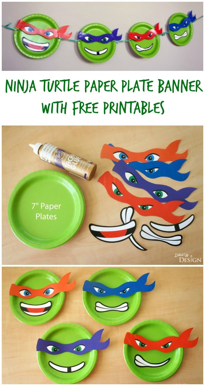Ninja Turtle Paper Plate Banner With Free Printables | Moms - Free Printable Ninja Turtle Birthday Banner