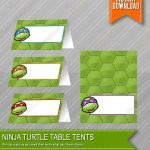 Ninja Turtles Birthday Food Table Tents Cards Blank Instant | Etsy   Free Printable Tmnt Food Labels
