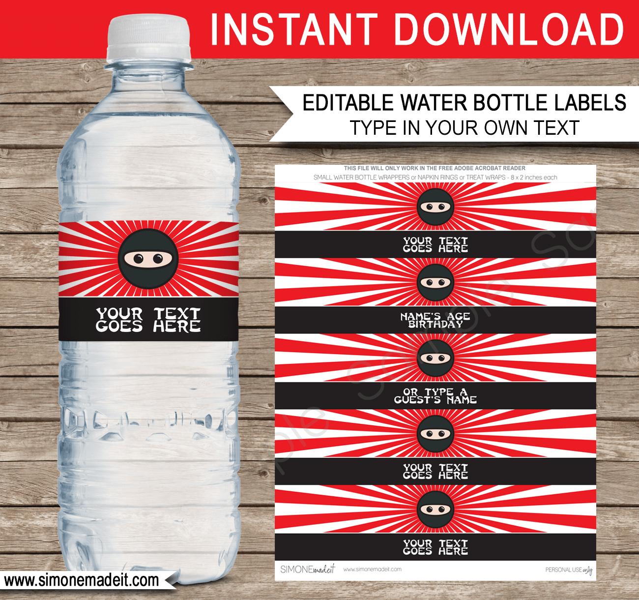 Ninja Water Bottle Labels Template | Ninja Theme Birthday Party - Free Printable Paris Water Bottle Labels