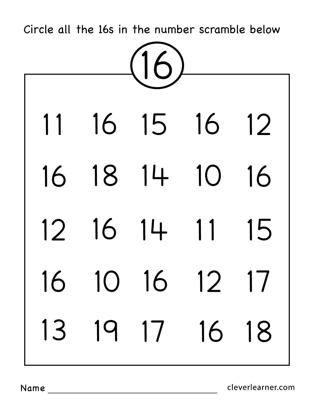 Number 16 Writing, Counting And Identification Printable Worksheets - Free Printable Number Worksheets