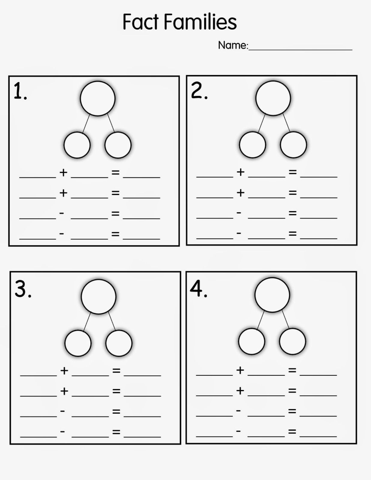 Number Family Worksheets For Kids | Math Worksheets For Kids - Free Printable Number Bond Template