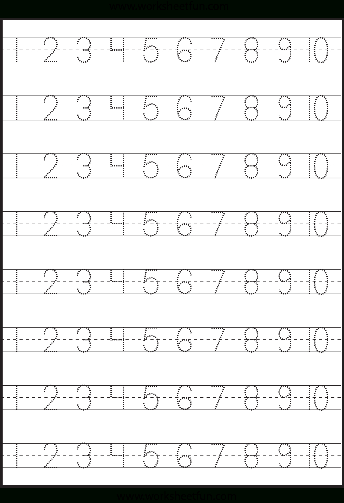 Number Tracing – 1-10 – Worksheet / Free Printable Worksheets - Free Printable Preschool Name Tracer Pages
