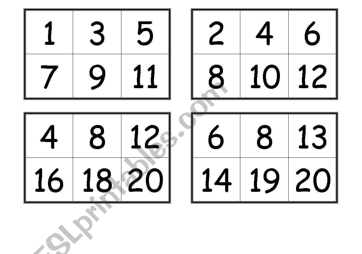 Numbers Bingo Cards (From 1 To 20) - Esl Worksheetcreguen - Free Printable Number Bingo Cards 1 20