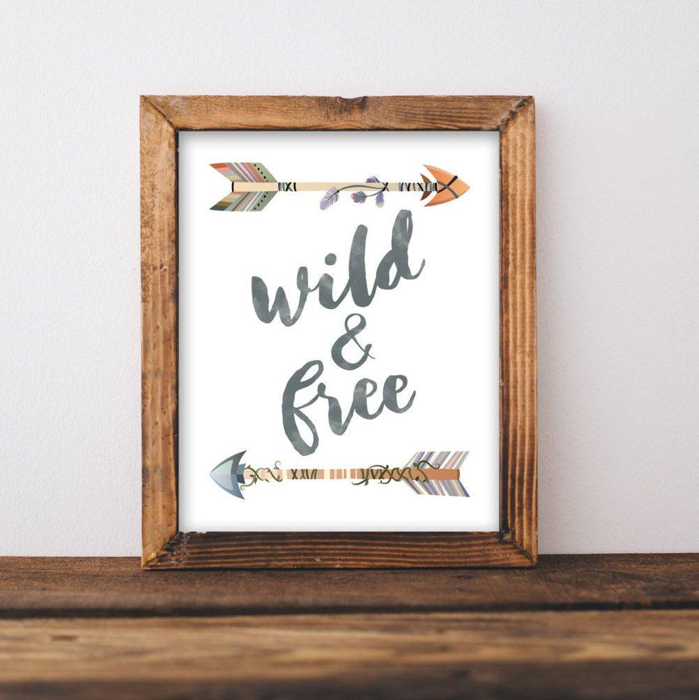 Nursery Printable Wall Art Wild And Free Printable Quote   Etsy - Free Printable Wall Art Quotes