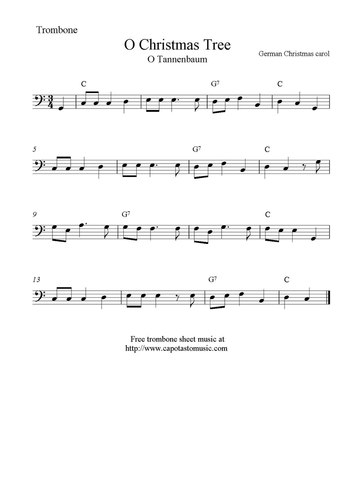 O Christmas Tree (O Tannenbaum), Free Christmas Trombone Sheet Music - Trombone Christmas Sheet Music Free Printable