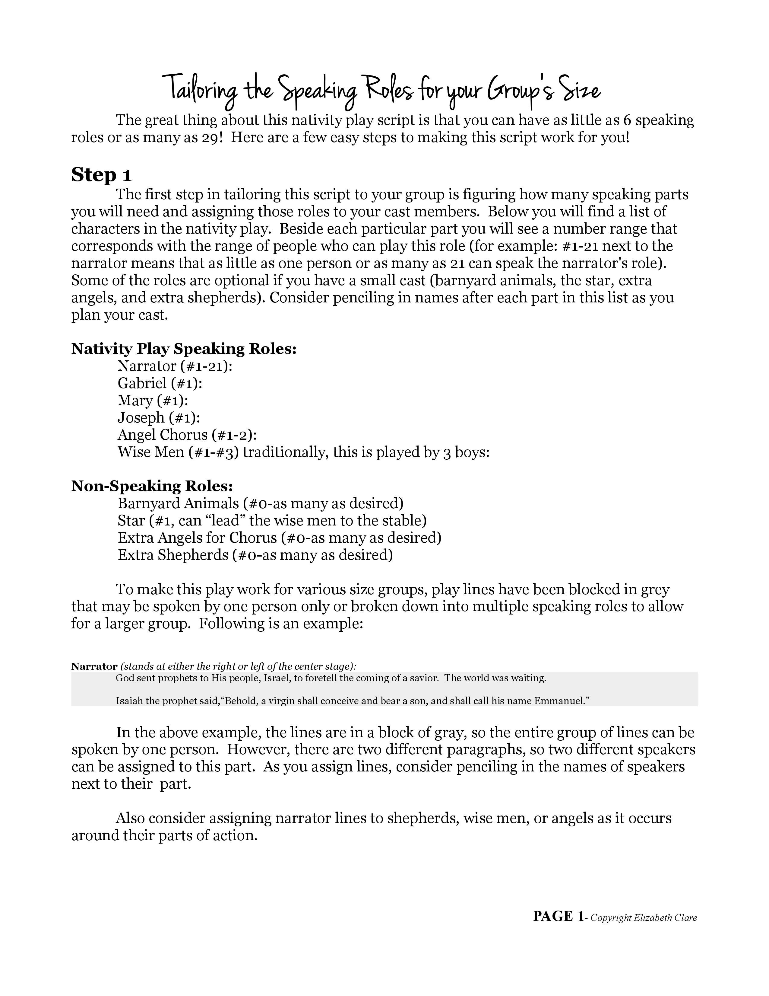 """O Come Emmanuel"""": A Nativity Play Script 